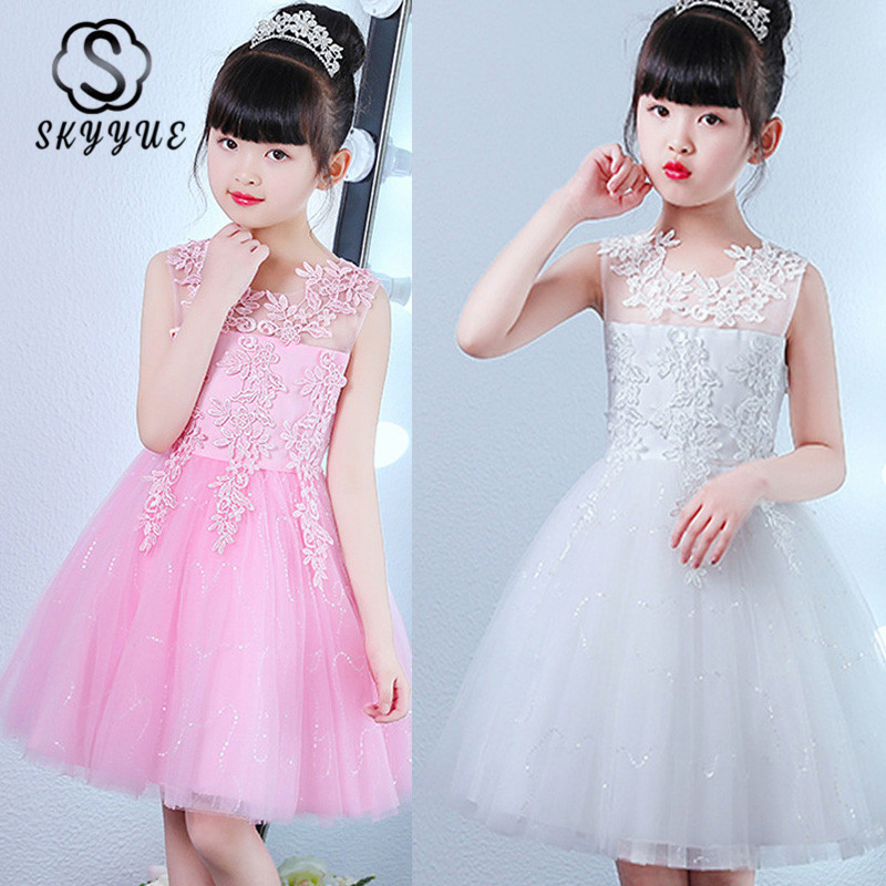 Skyyue Flower Girl Dress For Wedding N Kid Party Lace Flower Takedown Bow Comunion Dress Cotton Lining Ball Gown 2019 BX2803