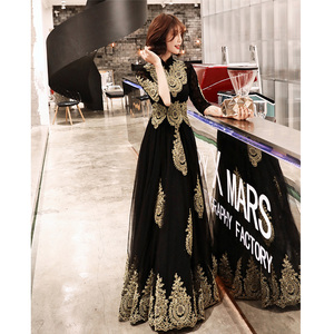 Image 2 - שמלת ערב גובה צווארון ארוך בתוספת גודל אלגנטי 2019 סקסי הולו נשים המפלגה שמלה חצי שרוול חלוק דה Soiree נשף שמלה e536