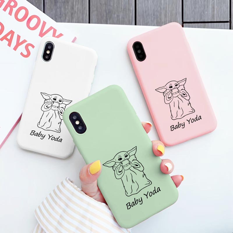 Simple Baby yoda meme Cute Case for iPhone 11 Pro Max XR X Xs Max 8 6 7 Plus 6SPlus Soft Silicone Phone Cover Drink soup Coque image