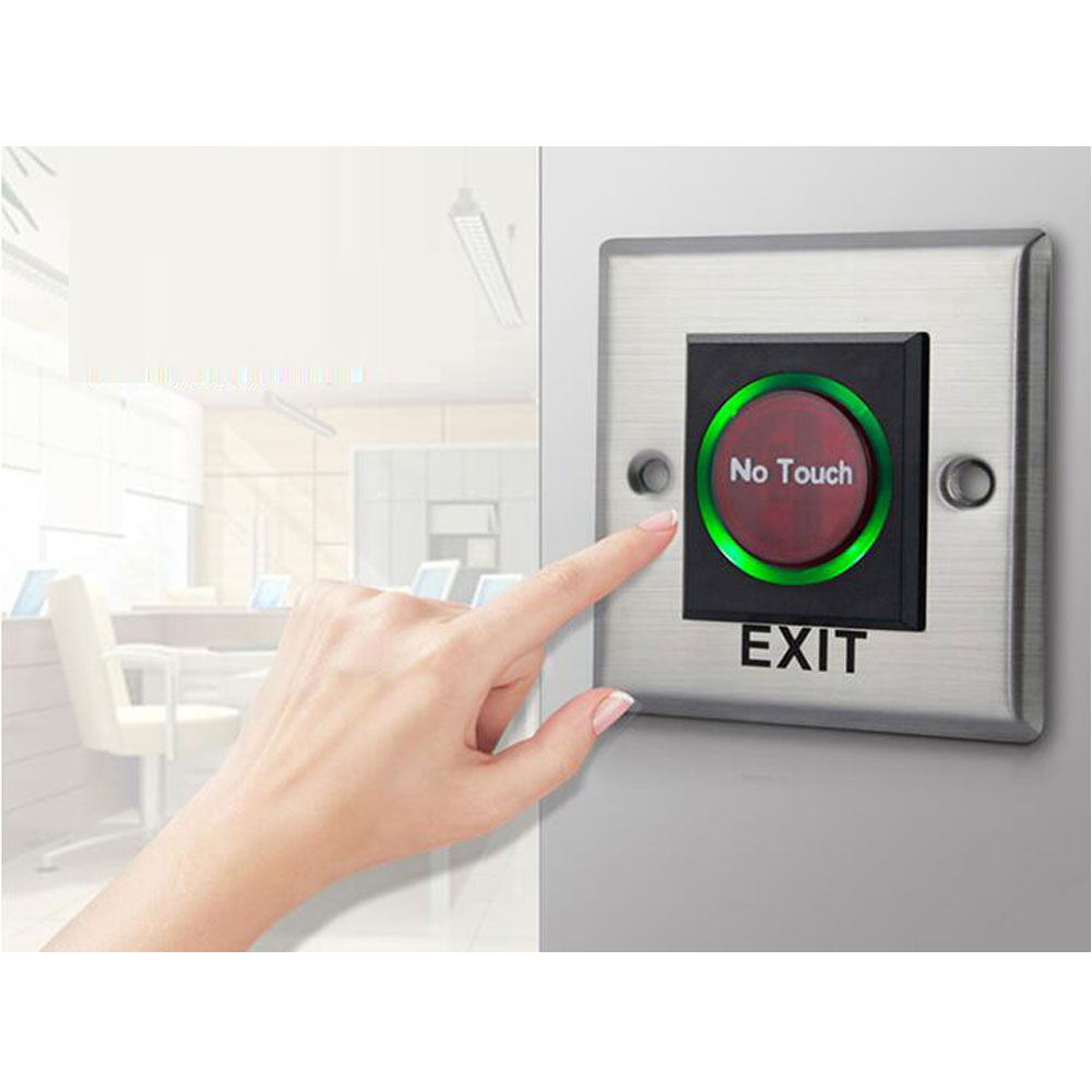 Infrared Exit Button With Blue Back Lights Palm Sensing ,86X86mm , NO Touch Panel,NO/NC/COM Output, Electric Box Cassette