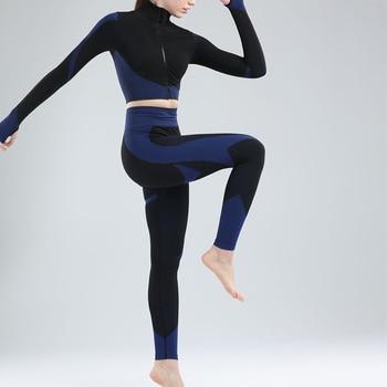 2020 New Women Yoga Set Zipper Long Sleeve Or Sleeveless Bra Top Leggings Sport Suit Workout Clothes Fitness Women's Costumes 4