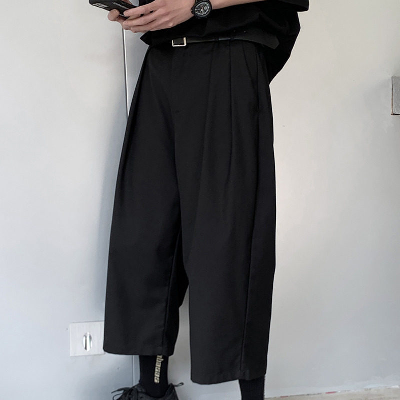 Summer Thin Section Straight Pants Men's Solid Color Casual Pants Men Streetwear Wild Loose Cropped Pants Mens Dress Pants S-3XL