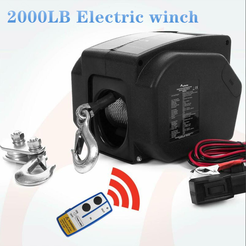 12V 2000 Lbs Wireless Electric Winch  For Marine Use
