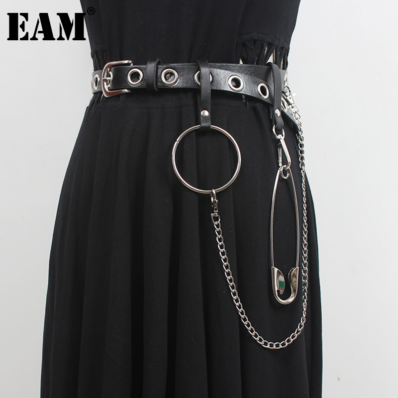 [EAM]  Pu Leather Black Split Joint Metal Chain Belt Personality Women New Fashion Tide All-match Spring Autumn 2021 1DD7972