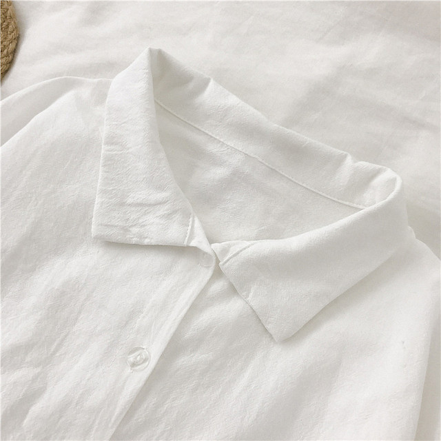 2020 New Spring White Shirts Women Casual Chic Turn-down Collar Korean Split Hem Blouses Office Ladies Leisure Soft Basic Blusas 5