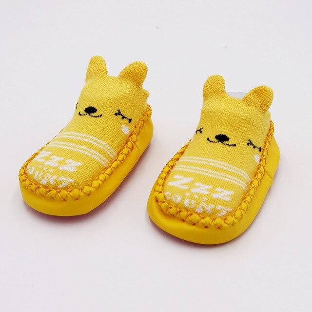 Г. Модные детские носочки с резиновой подошвой, носки для младенцев осенне-зимние детские носки-тапочки для новорожденных нескользящие носки с мягкой подошвой - Цвет: Yellow bear