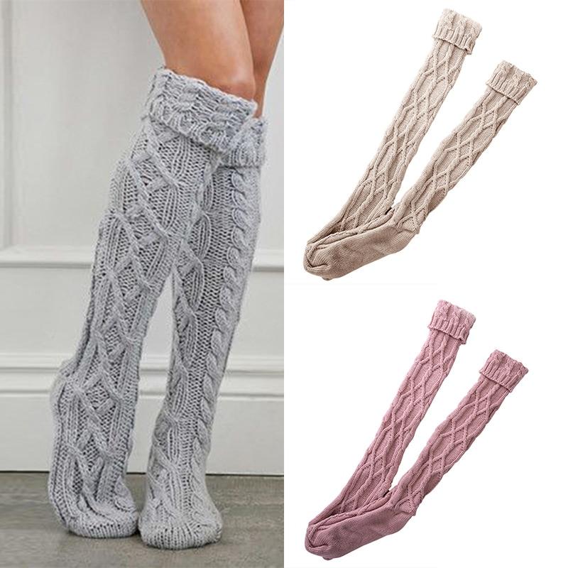 1 Pair Women Long Soft Cotton Knit Over Knee Socks High Socks Casual Girls Women Leg Warmers Stockings