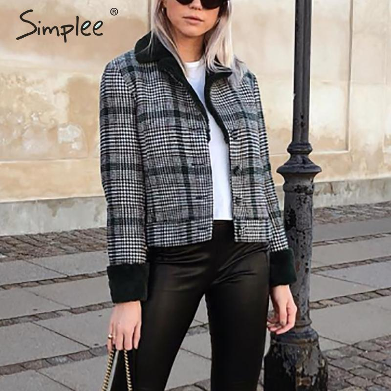 Image 2 - Simplee Faux fur patchwork plaid coat women Autumn winter buttons  furry female short jackets Chic streetwear ladies warm coatsFaux Fur