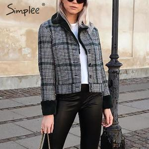 Image 2 - Женское клетчатое пальто с искусственным мехом Simplee, Короткая Меховая куртка на пуговицах, уличная одежда для осени и зимы