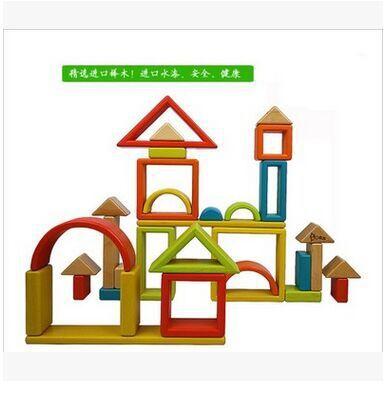 Blocs de construction en bois arc en ciel pour enfants jouets grand puzzle en bois massif pour bébé - 5