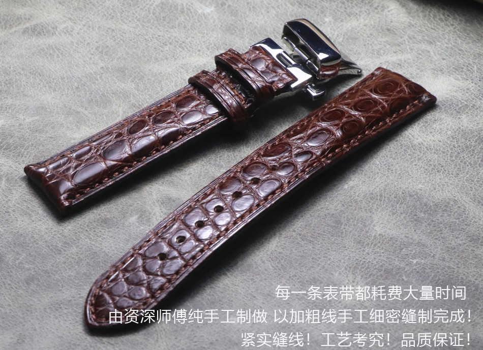רצועת השעון 18 19mm 20mm 22mm 21mm באיכות גבוהה תנין גרגרים רך אמיתי עור להקות שחור חום שעון רצועות עבור אומגה מידו