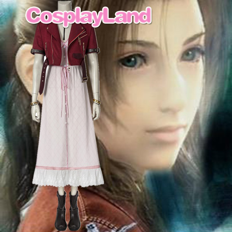 Final Fantasy VII Aerith Gainsborough Cosplay Costume Customize Outfit Halloween Party Costumes Women Girl Dress Game Cosplay