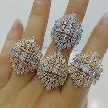 Godki 2020 新ファッション高級チャーム aaa バゲットカット立方ジルコンの結婚指輪 t 字石パーティー結婚式ジュエリー