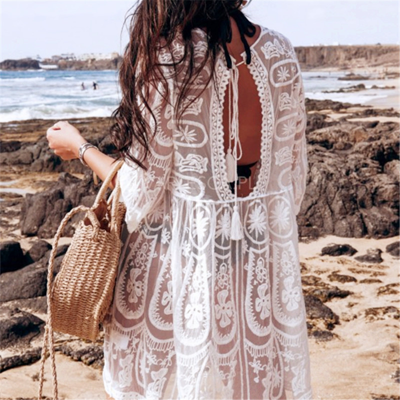 Bkning Embroidery Coverups For Women Tunic Beach Cover Up Dress Solid Blouse Beachwear Lace Sleeve Wrap Dresses Sarongs White