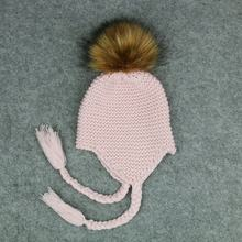 Baby Hat Children Winter Hats For Girls Boys Acrylic Thick Warm Knitted Ears Beanie Fox Fur Pompom Cap bonnet New(China)