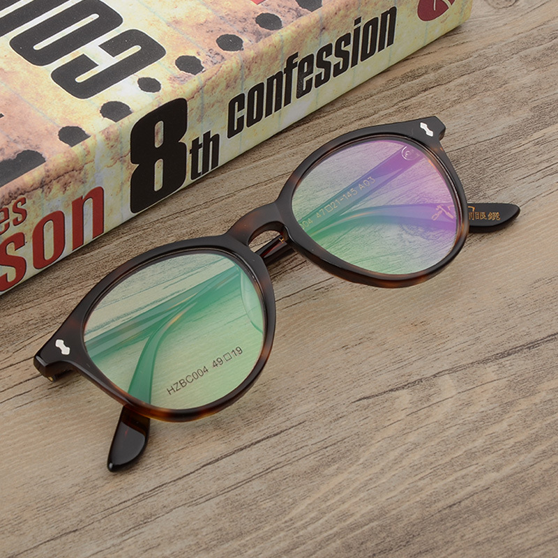 Zerosun Round Glasses Men Acetate Tortoise Graduate Man Vintage Spectacles For Prescription Myopia/diopter Optic Progressive