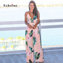 Echoine Women Sexy Jumpsuit Spaghetti Straps Floral Print Sleeveless Holiday Rompers Long Wide Leg Pants Streetwear Lady Outfits
