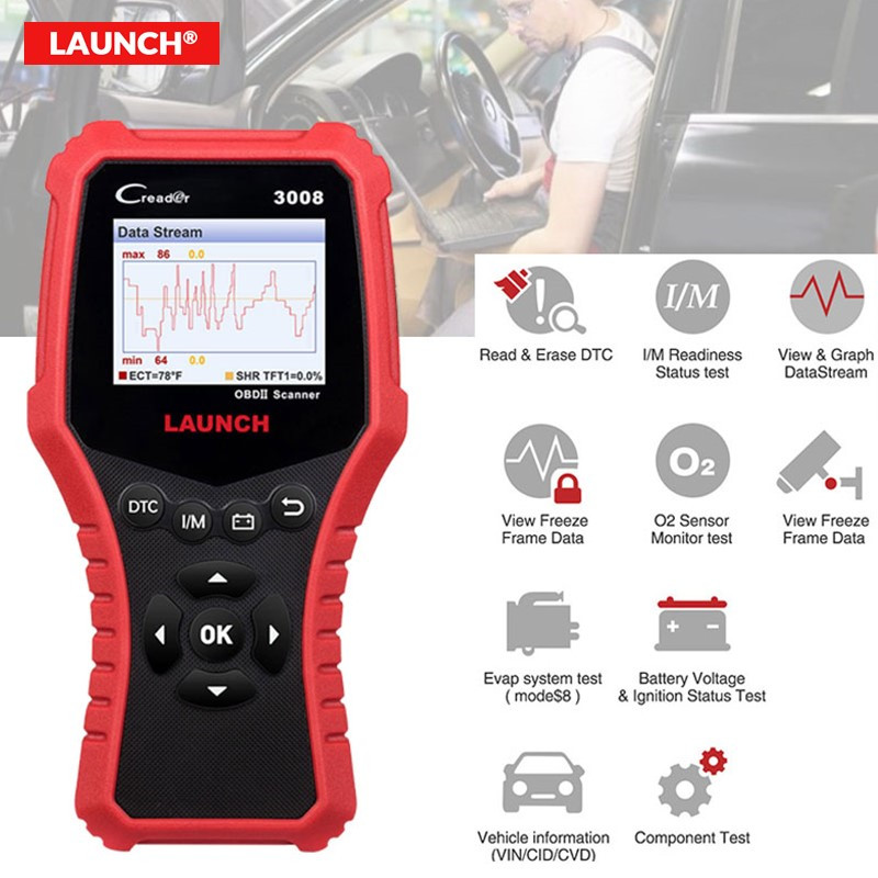 LAUNCH X431 CR3008 Code Reader Diagnostic Tool Free Upate OBD2 Scanner For Car