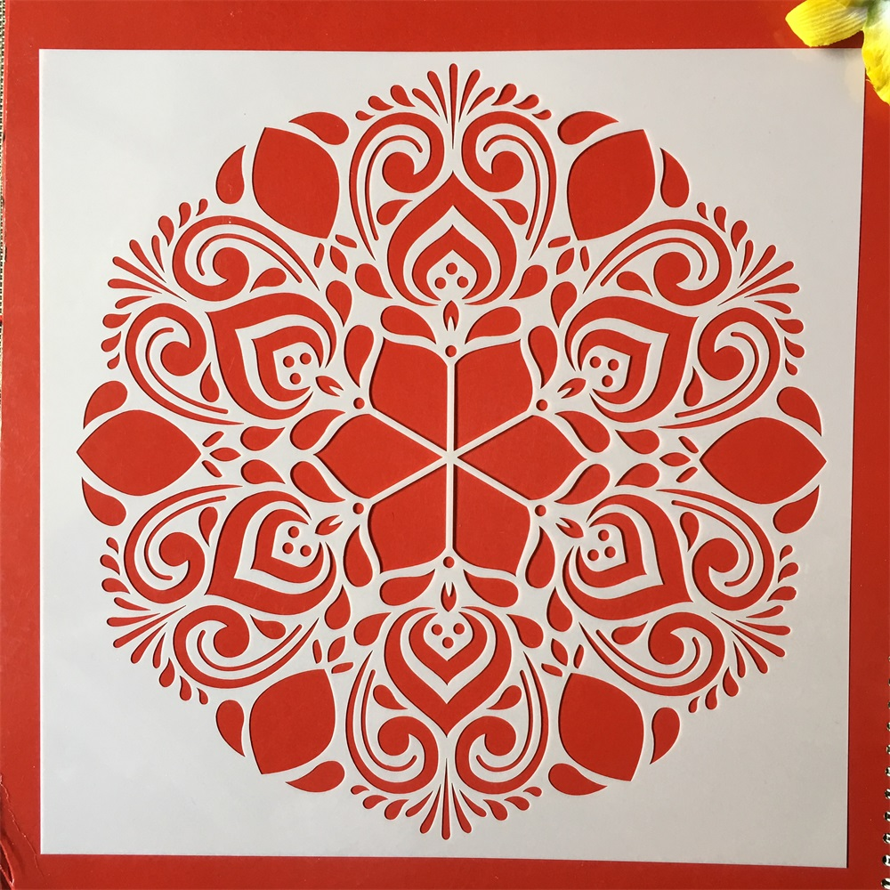 New 30*30cm Big Flower Round Mandala DIY Layering Stencils Painting Scrapbook Coloring Embossing Album Decorative Template