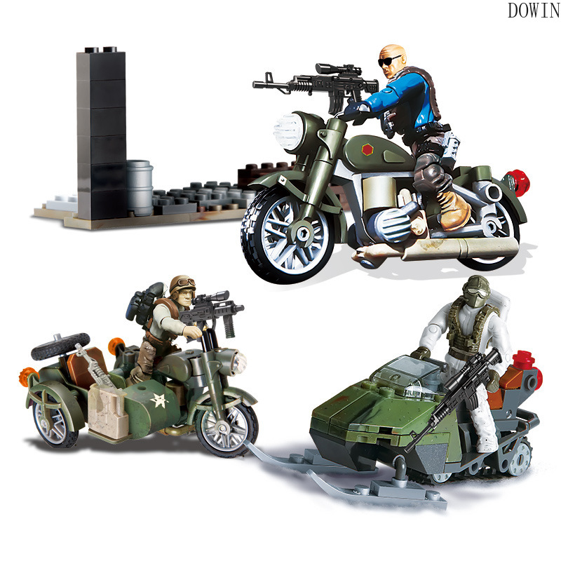Compatible call of military duty mini soliders with War chariot figures Army sets model building blocks Model Dolls bricks kit image