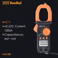 RuoShui VC610B AC DC ClampMeter 4000 adet diyot süreklilik multimetre NCV True RMS kapasite frekans elektrik