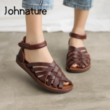 Retro Sandals Women Shoes Weave Flat Genuine-Leather Casual Summer Johnature with Hook