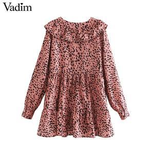 Image 2 - Vadim נשים אלגנטי הדפס מנומר מיני שמלת בעלי החיים דפוס ראפלס ארוך שרוול נקבה מקרית ישר שמלות QC860