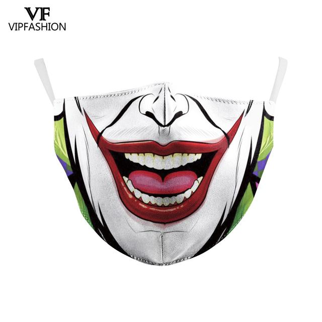 VIP FASHION Funny Big Mouth Print Grimace Ghost Skeleton Face Mask Washable Fabric Reusable Breathable Party Mask 2