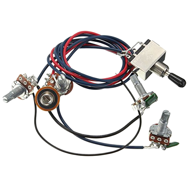 TOP!-Lp Electric Guitar Pickups Wiring Harness Kit 2T2V 500K Pots 3 Way Switch With Jack For Dual Humbucker Gibson Les Pual Styl