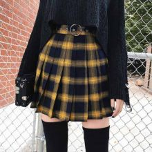 Mini Rock Mode Harajuku Hohe Taille Kurz Falten Röcke Frauen Adrette Uniformen Damen kawaii Gelb Plaid Mini-Rock(China)
