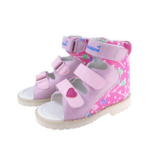 Girls Melissa Sandals Summer Children's Orthopedic Shoes Printing Leather Flatfeet Platform Baby Toddler Princess Booties