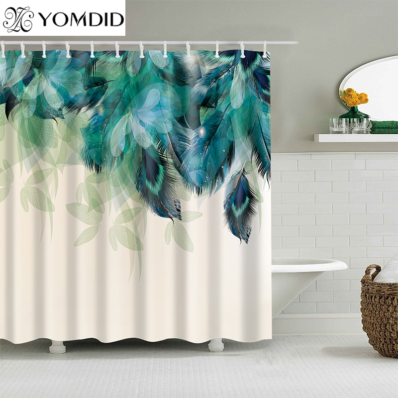 YOMDID Polyester faser bad vorhang 3d gedruckt dusche vorhang mit haken für hochzeit hause badezimmer dekoration Cortina de ducha