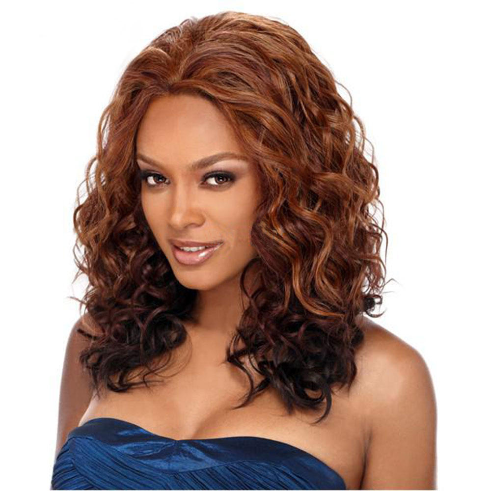Amir Long Synthetic Wigs For African American Women Loose Wave Hair Ombre Brown Black Hair Side Part Wig High Temperature Fiber