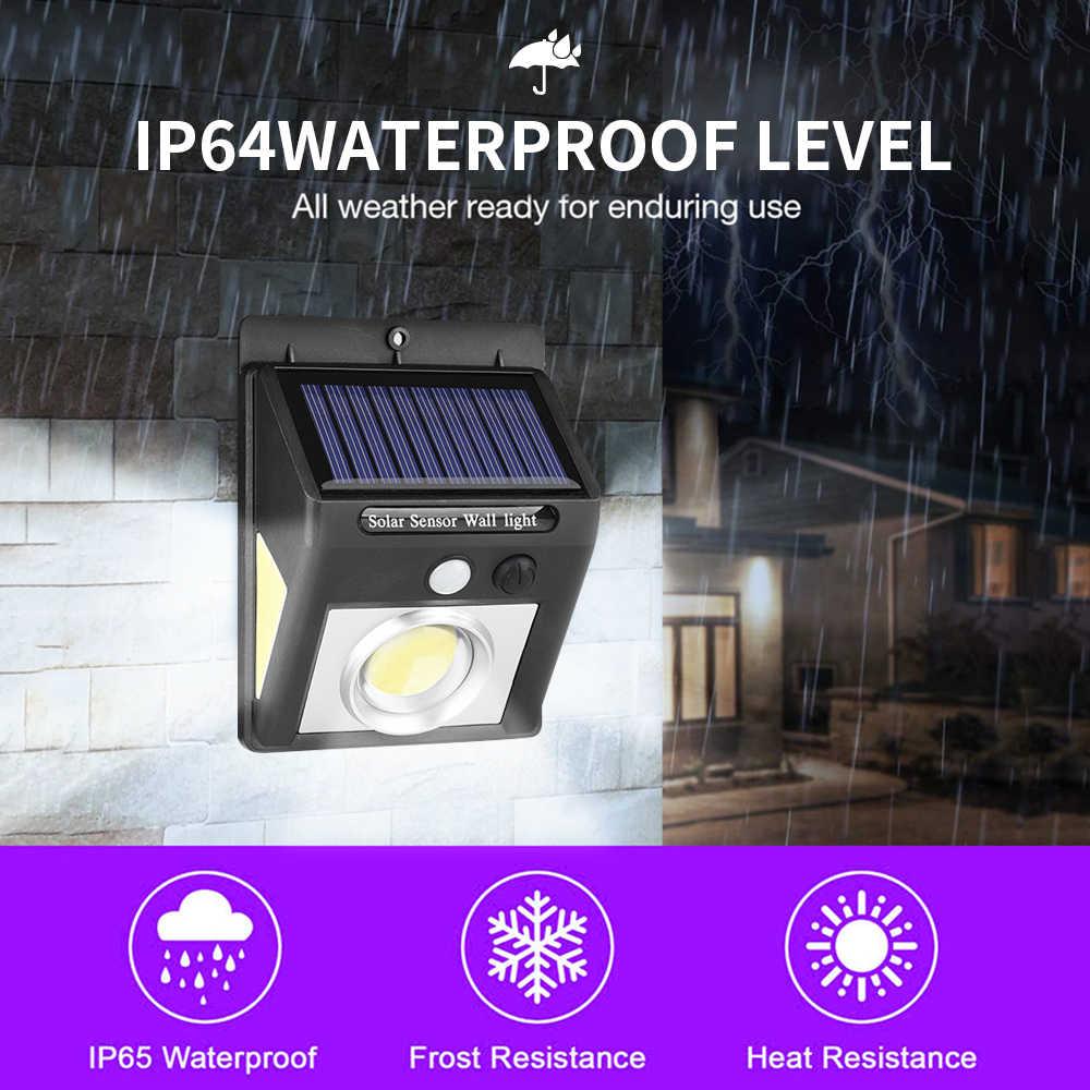 4 Uds 37 LED luz Solar de tres lados PIR Sensor de movimiento lámpara de energía Solar iluminación exterior ahorro de energía lámpara de jardín luces de pared