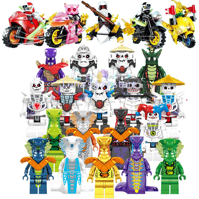 8pcs/lot Ninjagoed Master Moto Figures Building Blocks Ninjagoe Figures Sets Bricks Toys For Children Gift