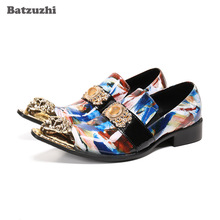 Batzuzhi Fashion Men's Shoes Gold Metal Toe Genuine LEATHER dress Shoes for Men Party and Wedding, Business Zapatos Hombre,38-46 vivodsicco fashion gold metal signature shark tooth genuine leather men loafers carved bullock party men printing dress shoes