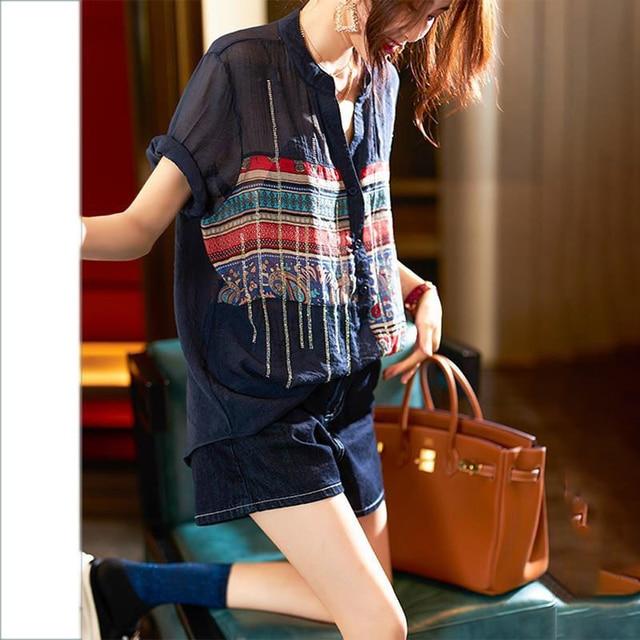 Plus Size Women Spring Summer Chiffon Blouses Shirts Lady Casual Short Sleeve Turn-down Collar Chiffon Blusas Tops DD8913 2