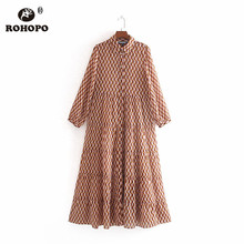ROHOPO Long Sleeve British Academy Buttons Fly Pleated Maxi Midi Pink Dress Chiffon Chic Mid Calf Vestido  #9335