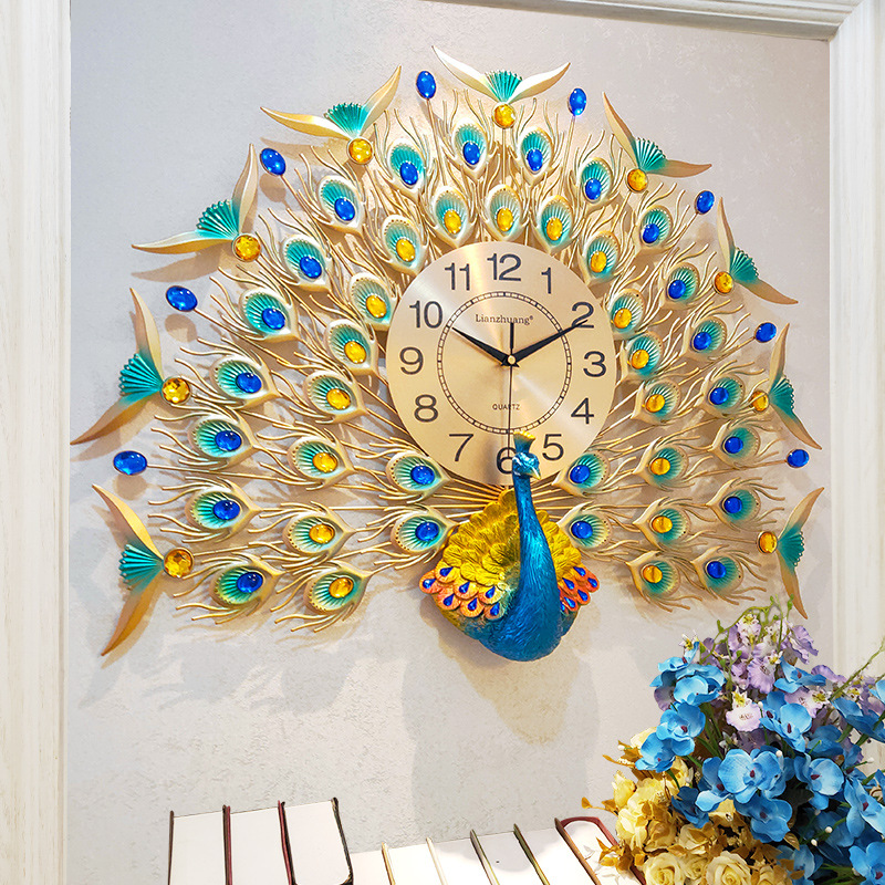 Peacock Wall Clock Living Room Cool And Stylish Home Creative Simple Electronic Clock Quartz Clock European Style Glorious Mute