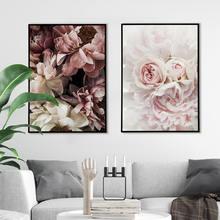 Плакат с розами пионы скандинавский Холст Картина Настенная