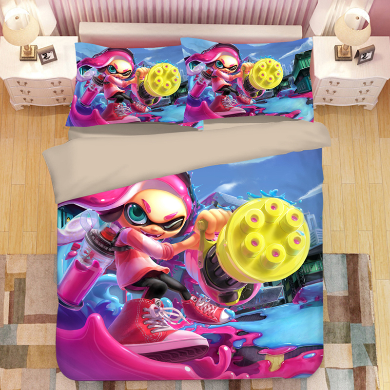 Splatoon Cartoon Bedding Set Duvet Covers Pillowcases Splatoon 2 Game Comforter Bedding Sets Bedclothes Bed Linen Bed Set