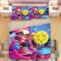 Splatoon Cartoon Bedding Set Duvet Covers Pillowcases Splatoon 2 Game Comforter Bedding Sets Bedclothes Bed Linen Bed Set