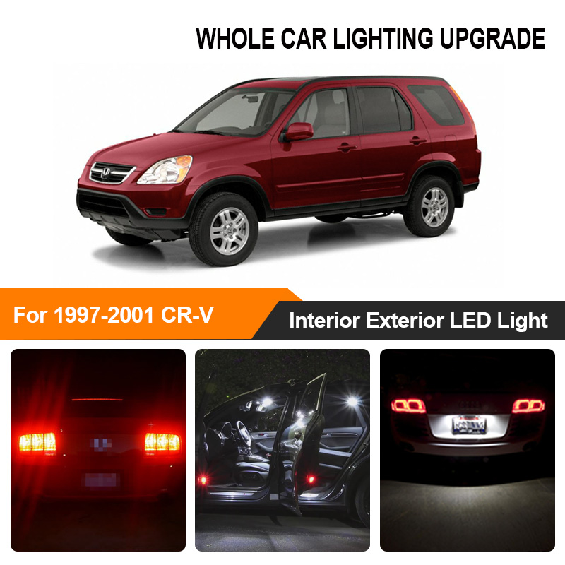 White Red Car Bulbs Exterior Interior LED Light For <font><b>1997</b></font>-1999 2000 <font><b>2001</b></font> <font><b>Honda</b></font> <font><b>CR</b></font>-<font><b>V</b></font> CRV Reverse Brake Parking Turn Signal Lamp image