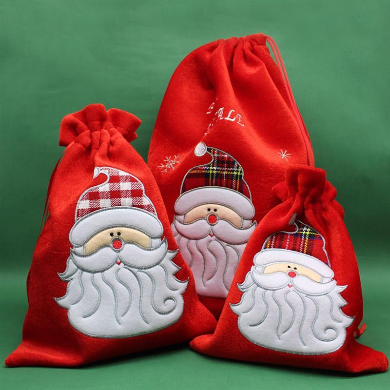 Рождественская сумка на шнурке Милая вышитая подарочная сумочка на Рождество Рождественский рюкзак сумка на шнурке для детей