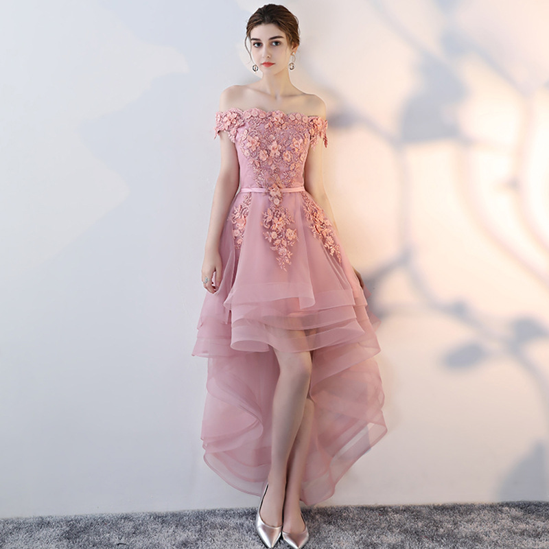 2019 New Fashion Pink Lace   Cocktail     Dress   Short Knee-Length Off Shoulder   Dresses   For Party