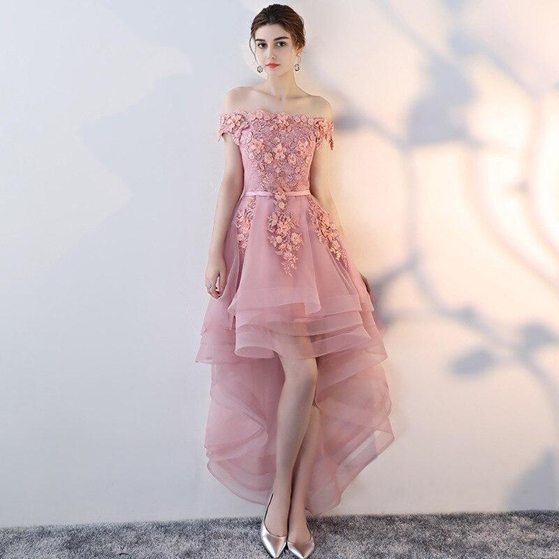 2019 nouvelle mode rose dentelle robe de Cocktail courte genou longueur hors épaule robes pour la fête
