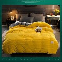 2019 شتاء جديد لينة دافئ أحمر أصفر المرجان المخملية غطاء لحاف السرير قطعة واحدة الفانيلا سماكة الدافئة حاف غطاء الفراش-في غطاء اللحاف من المنزل والحديقة على