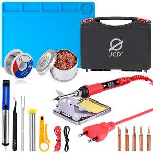 Image 1 - JCD Juego de caja de plástico para soldar temperatura ajustable, 220V 80W, kit de herramientas de reparación de soldadura con estera de trabajo de aislamiento térmico ESD