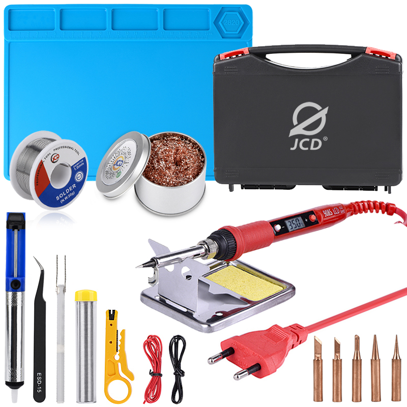 JCD Soldering Iron Plastic Box Set Temperature Adjustable 220V 80W Welding Rework Tools Kit With ESD Heat Insulation Working Mat