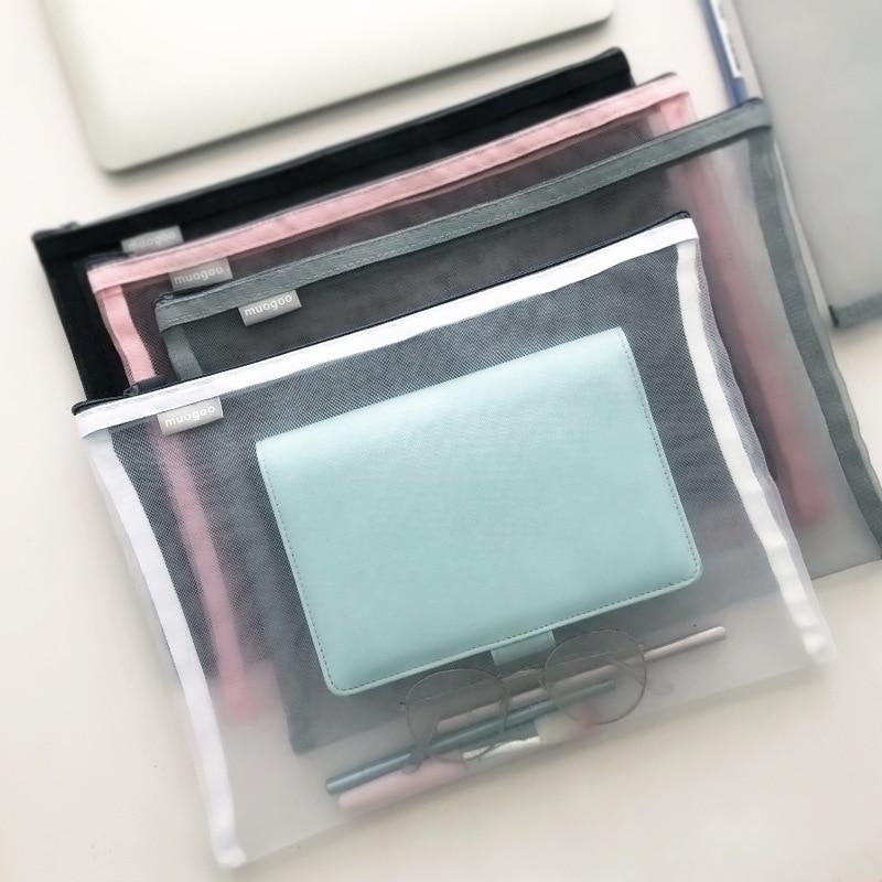 A4 Thick Nylon Mesh Zipper Storage Bag Transparent Pocket File Bag Originality Folder School Stationery Support Kawaii